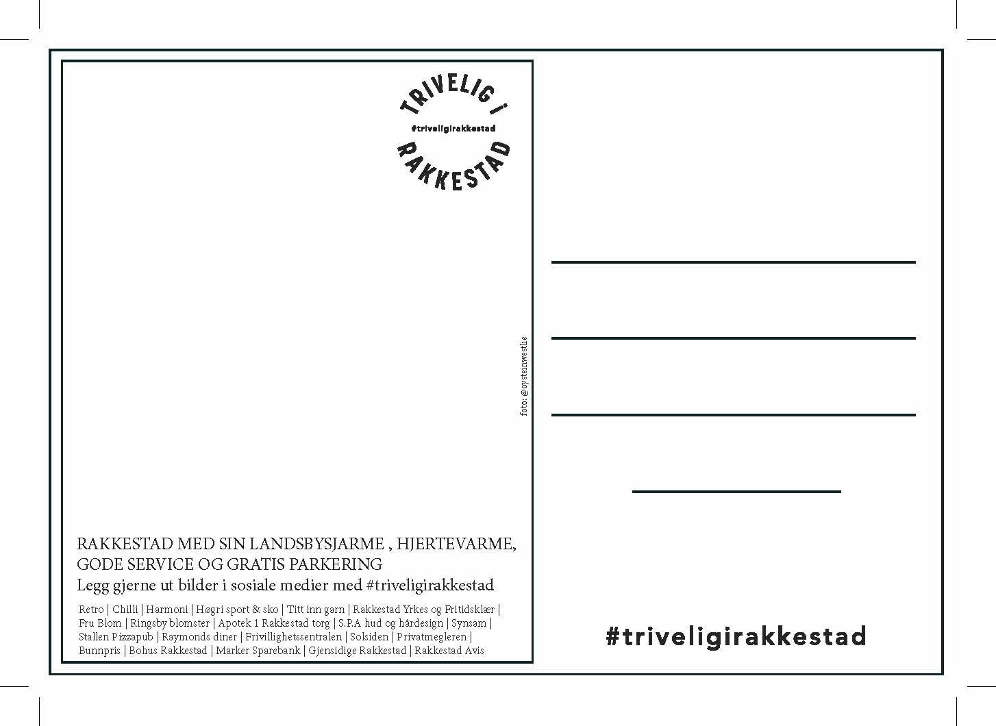 Postkort #TriveligiRakkestad Rakkestad Handelstand
