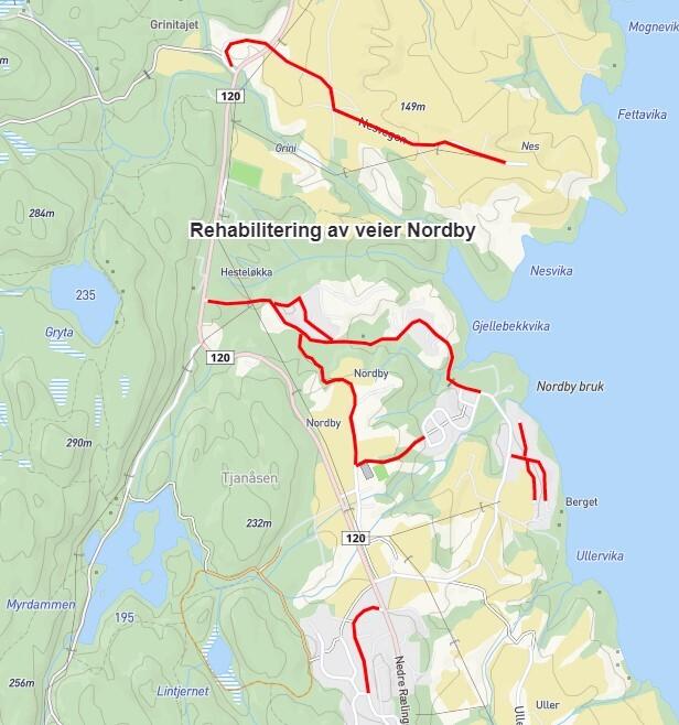 Rehabilitering veier Nordby