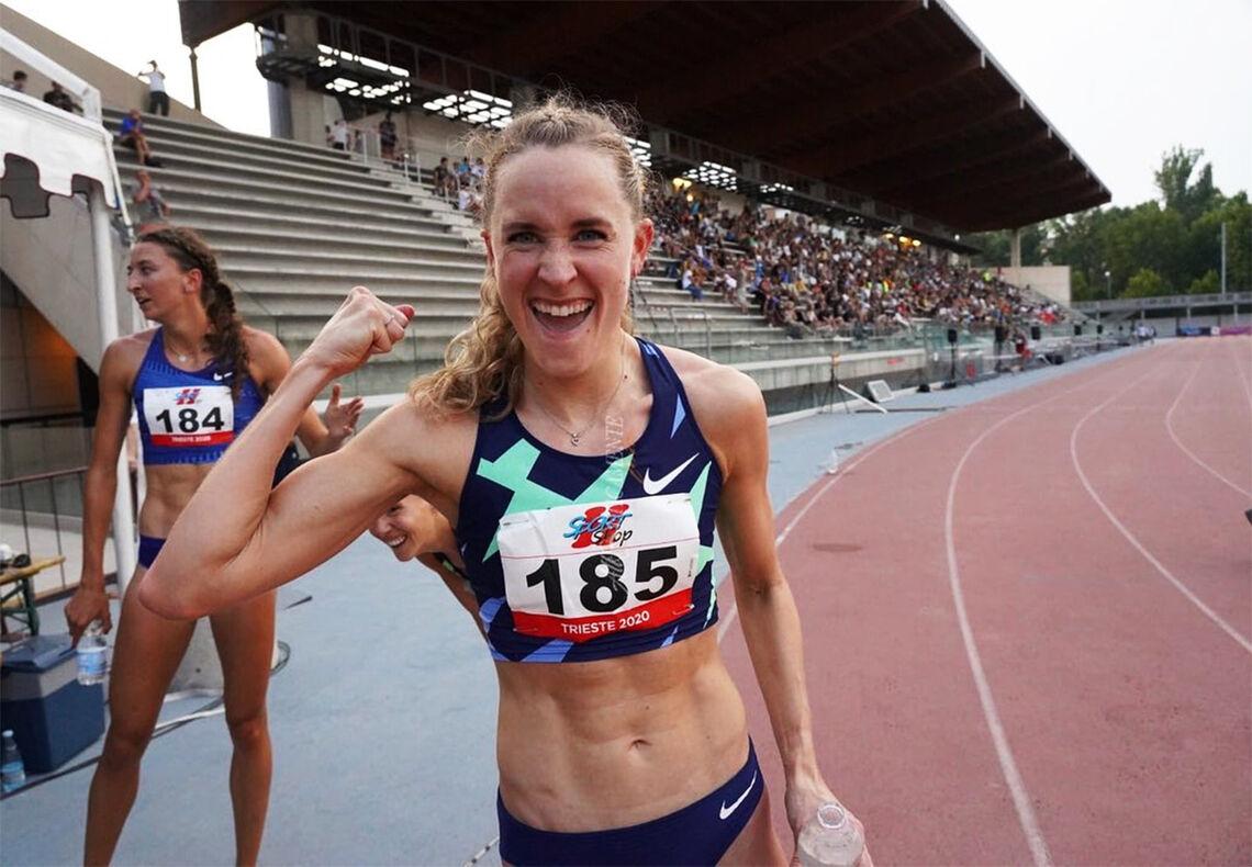 Hedda Hynne viste muskler i 800 meteren i Trieste i Italia. (Foto: Hedda Hynnes Facebook-side)