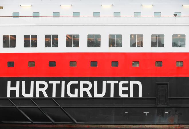 Hurtigruten - bilde av logo på skipsside