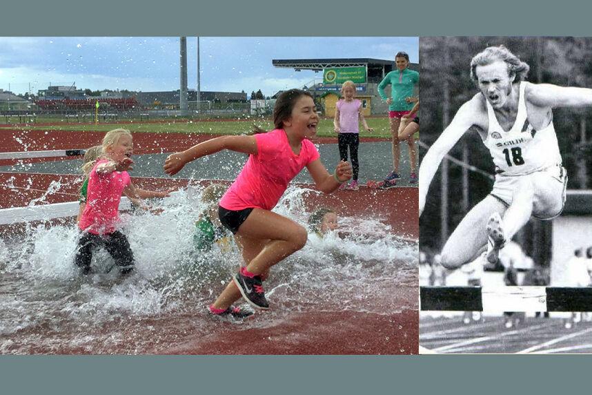 Det blir gode muligheter til å bli våt på beina i Hinderfestivalen til Gular og Gneist. Det var nok mindre bading da Sverre Sørnes passerte vanngraven. (Foto: arrangøren)