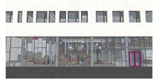 Bibliotek fasade Ravinen skisse Spinn Arkitekter