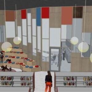 Bibliotek barneavdeling Ravinen skisse Spinn Arkitekter