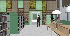 Bibliotek ungdomsavdeling Ravinen skisse Spinn Arkitekter