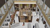 Bibliotek voksenavdeling Ravinen skisse Spinn Arkitekter