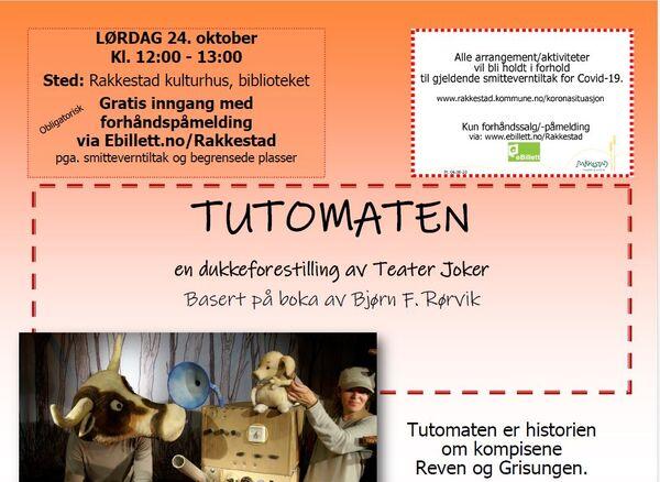 Tutomaten - dukkeforestilling med teater Joker på Rakkestad bibliotek 241020