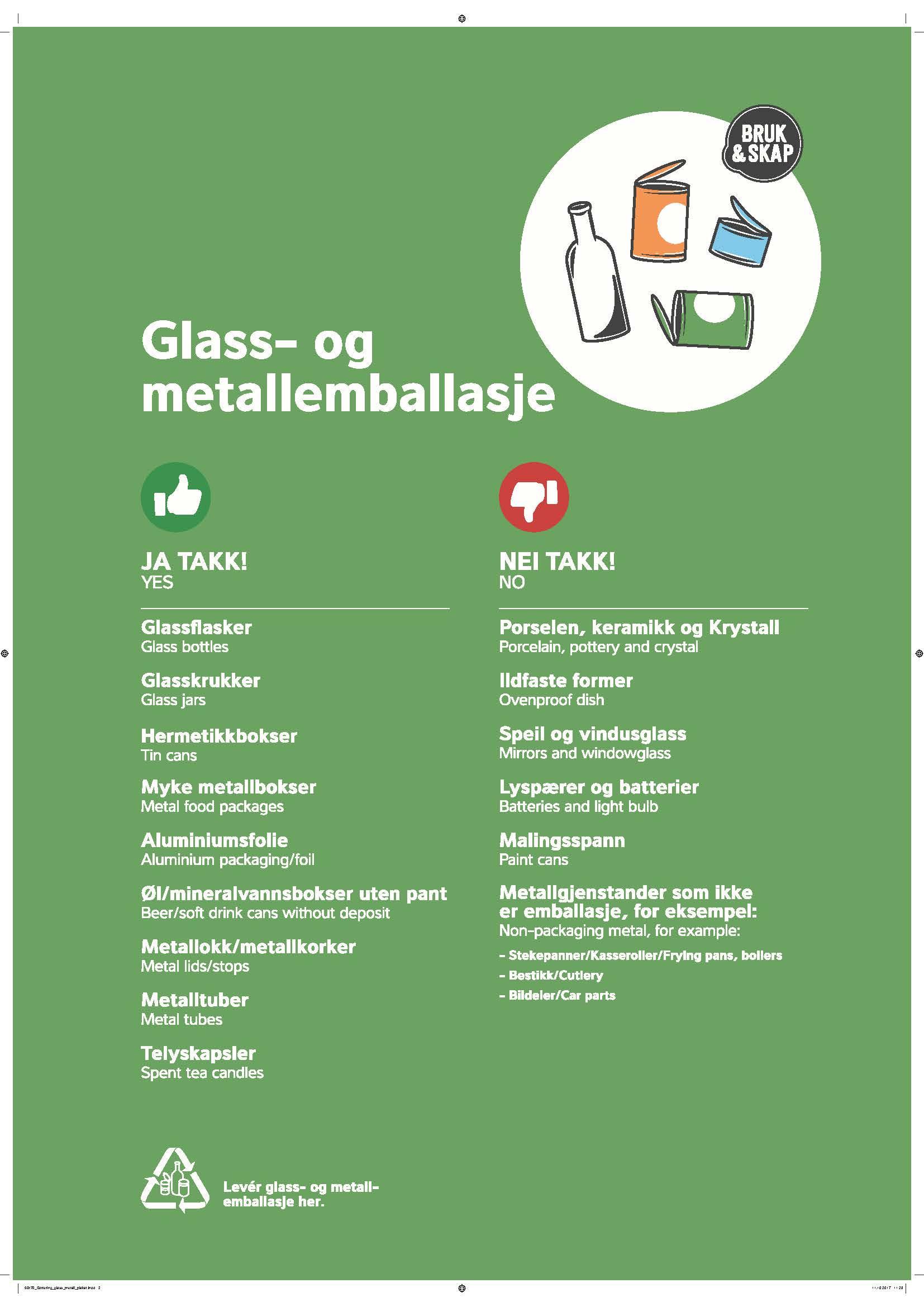 Glass-og metall - ja-takk og nei-takk plakaten