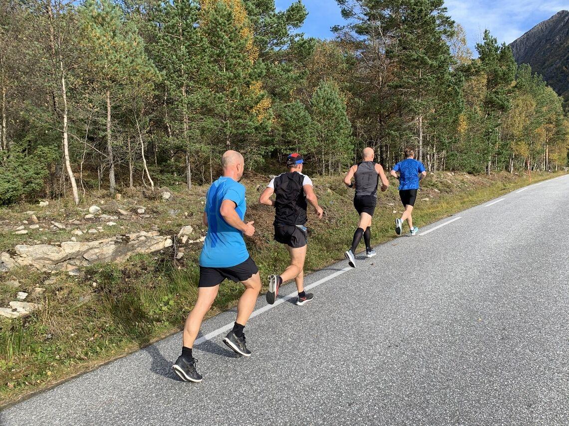 Flott vær og rask løype møtte løperne i Romsdal 5/10/halv, her fire mann fra halvmaratonfeltet. (Foto: Halgeir Dahle)