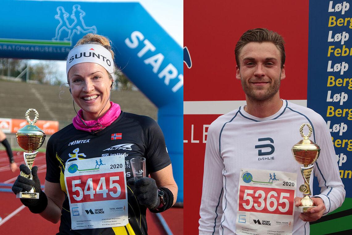 Therese Falk og Mathias Sæten med de flotte pokalene fra Maratonkarusellen. (Alle foto: Arne Dag Myking)