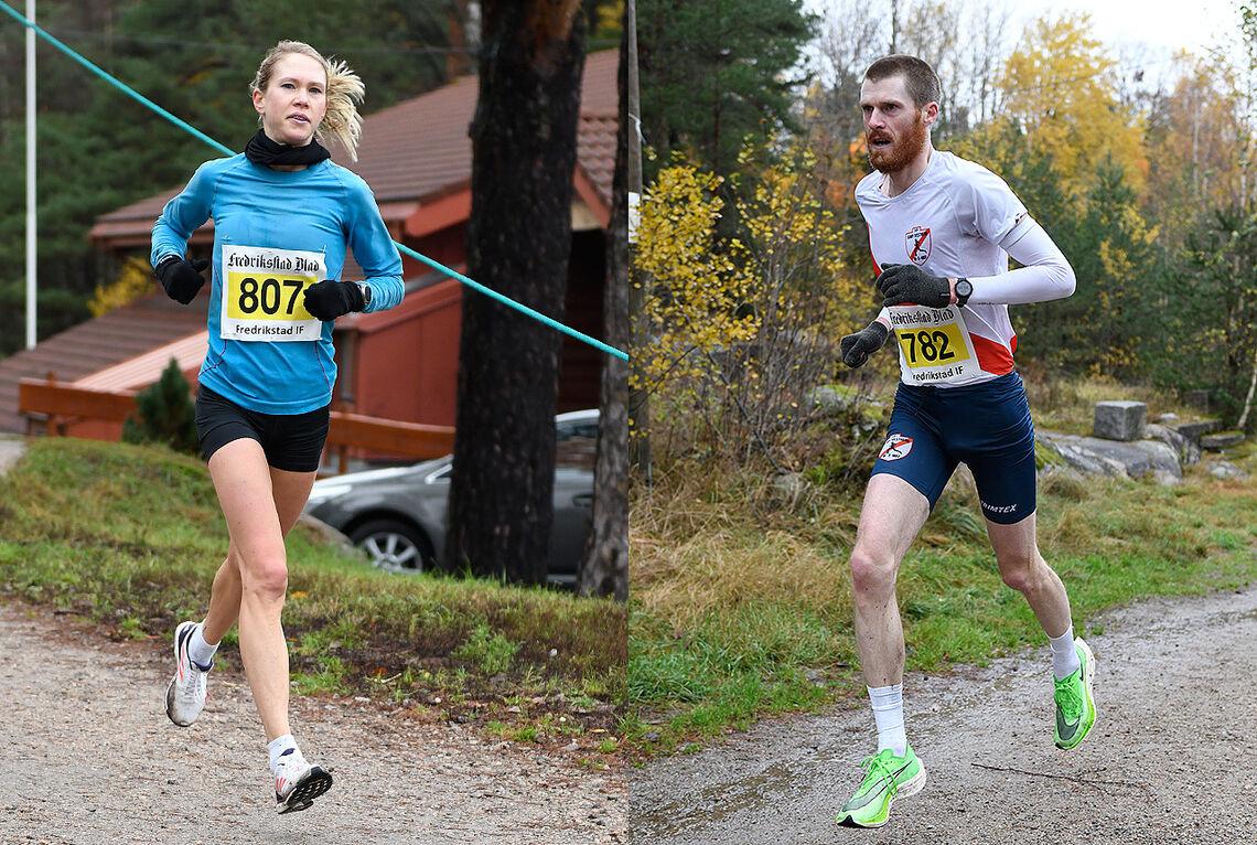 Anette Hauge og Magnus Erstad vant den 20. utgaven av Fredrikstad Maraton. (Alle foto: Bjørn Johannessen)