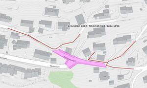 Kart som viser del 2 av graveplan i Navarsetevegen