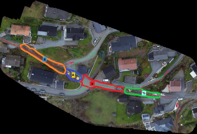 Kart som syner området der arbeidet går føre seg.