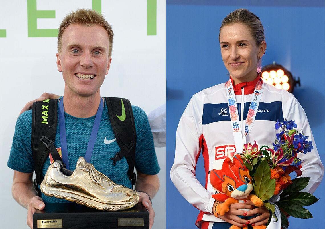 Sondre Nordstad Moen og Karoline Bjerkeli Grøvdal er mottakerne av Kondis' gullsko som landets beste langdistanseløpere i 2020. (Foto: Bjørn Johannessen)