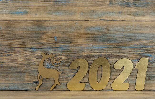 Bilde av nytt årstall 2021 og et reinsdyr