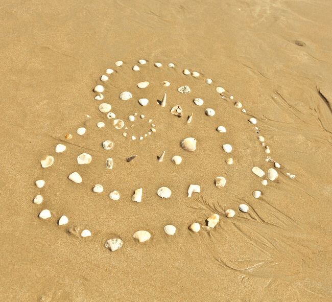 Bilde av skjell som danner et hjerte