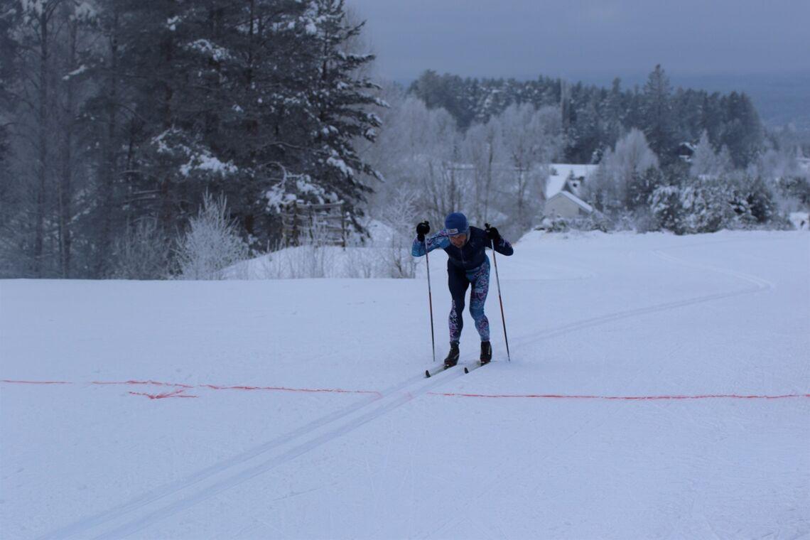 Vegard Lans Pedersen i mål nesten tre minutter foran nestemann. (Foto: Sigurd Westgård/Team 55+)