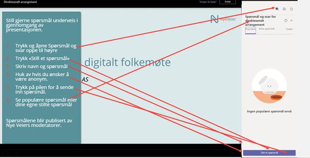 Skjermbilde som forklarer hvordan man kan stille spørsmål i det digitale møtet 10. februar