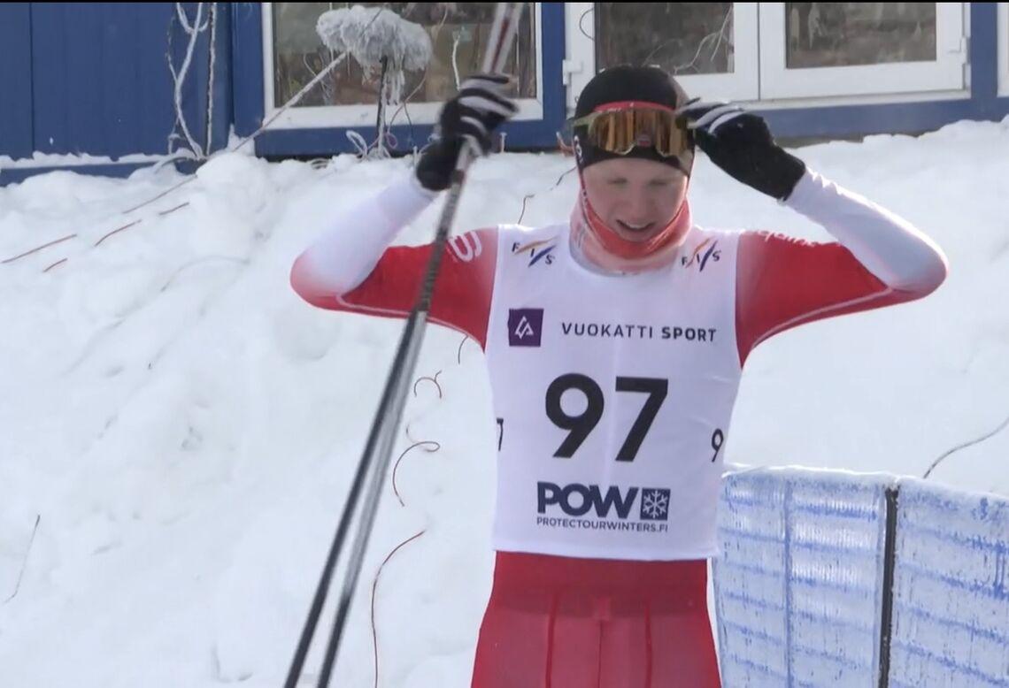 Martin Kirkeberg Mørk ble fredag juniorverdensmester på 15 km fristil i finske Vuokatti. (Foto: Skjermdump nrknett-tv)