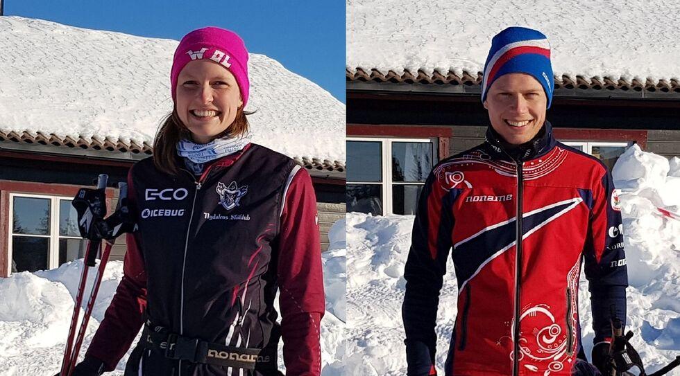 Søndagens sprint-vinnere: Anna Ulvensøen og Audun Heimdal.