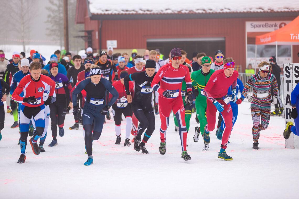 Startfeltet i seniorklassene med løping som første øvelse. (Foto: Sylvain Cavatz)