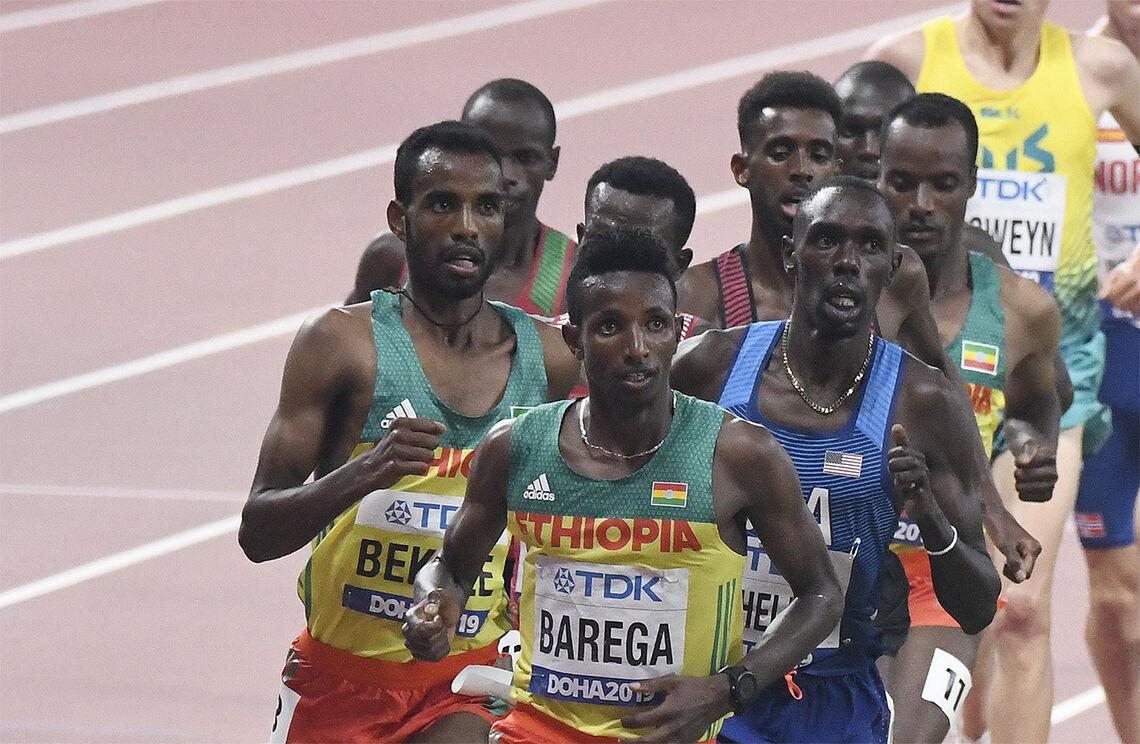 Selemon Barega var en av fire etiopiske vinnere, og Baregas seier kom på 1500 m. (Arkivfoto: Bjørn Johannessen)
