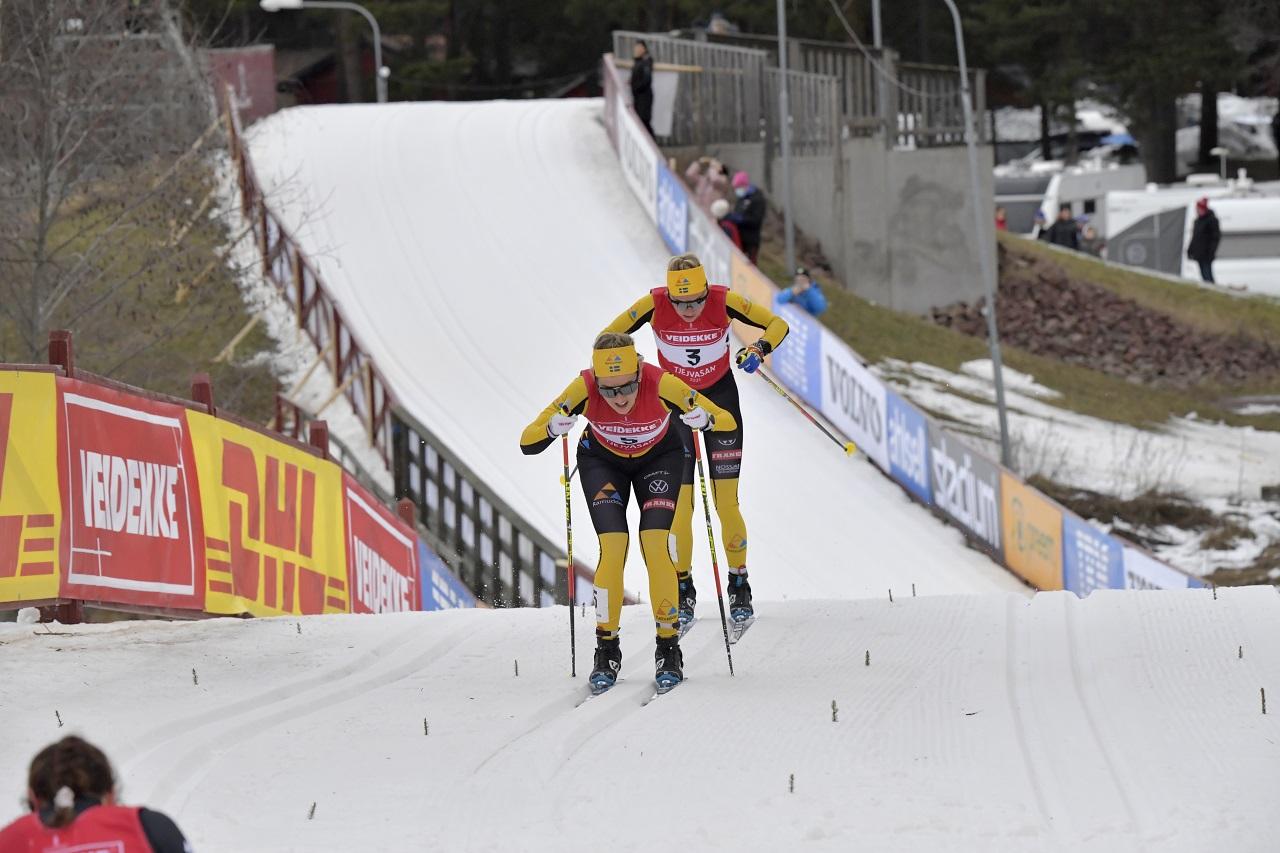 210227  MoraTjejvasan målgång med Jenny Larsson och Ida DahlFoto Nisse Schmidt