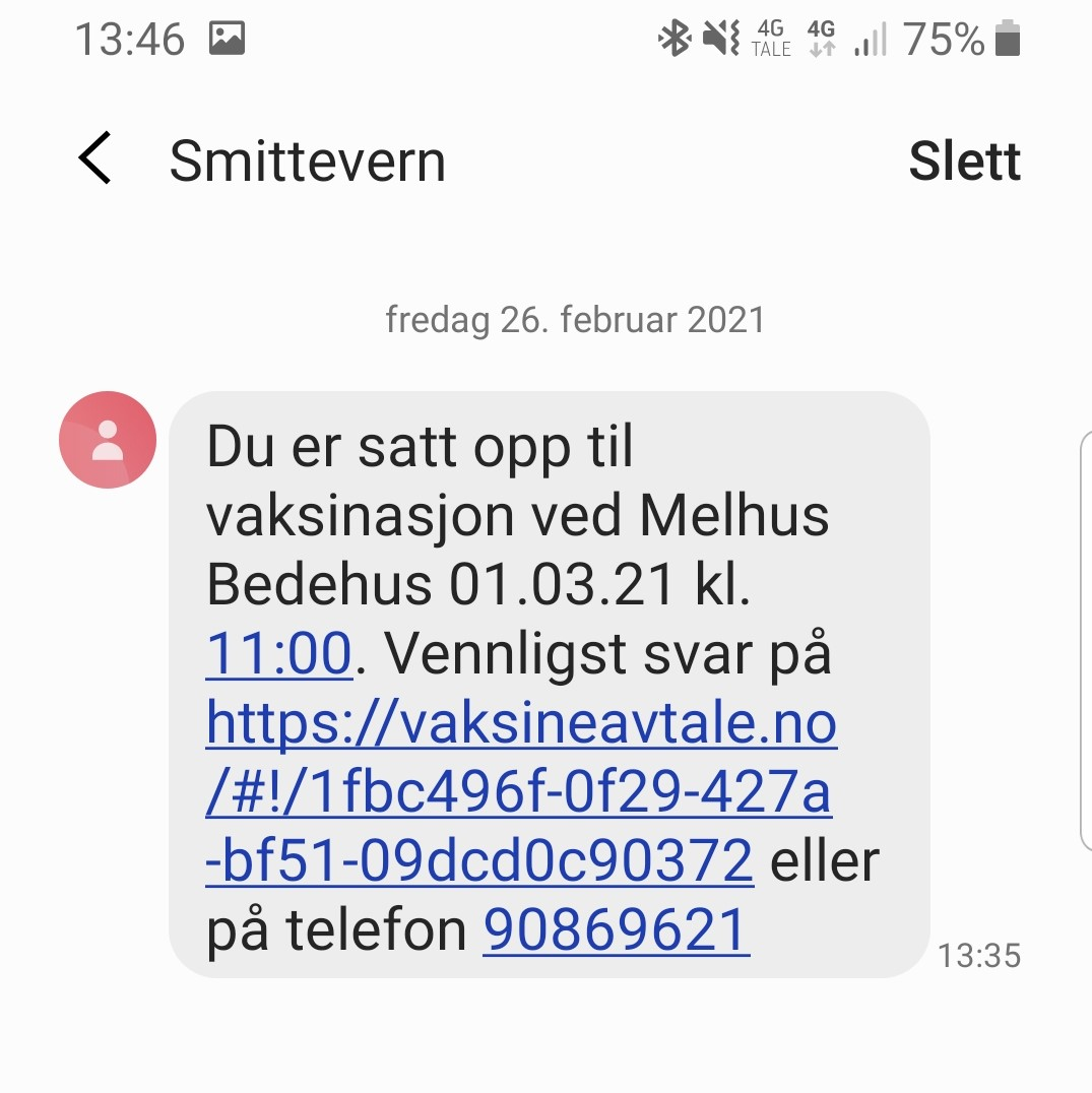 Bilde av hvordan SMS-en med tilbud om vaksine vil se ut