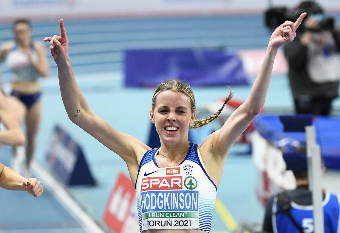 Keely Hodgkinson har bare så vidt fylt 19 år, men kunne juble for EM-gull på 800 m. (Foto: Det britiske friidrettsforbundet)