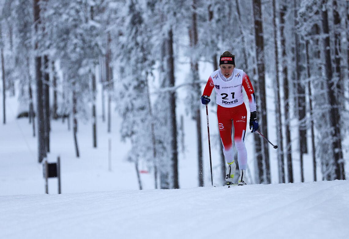 Gulløpet: På 15 kilometeren i junior-VM i Vuokatti dro Margrethe Bergane fra konkurrentene allerede tidlig i rennet. Seiersmarginen ble på 24 sekunder. (Foto: The Daily Skier)