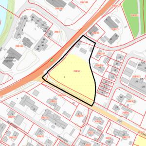 Kartutsnitt som viser planavgrensning for detaljreguleringsplan Nyløkkja