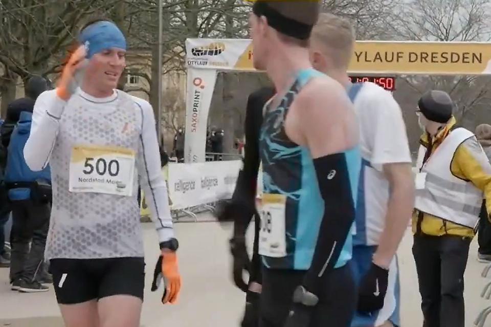En middels fornøyd Sondre Norstad Moen etter løpet i Dresden (Skjermdump fra streaming)