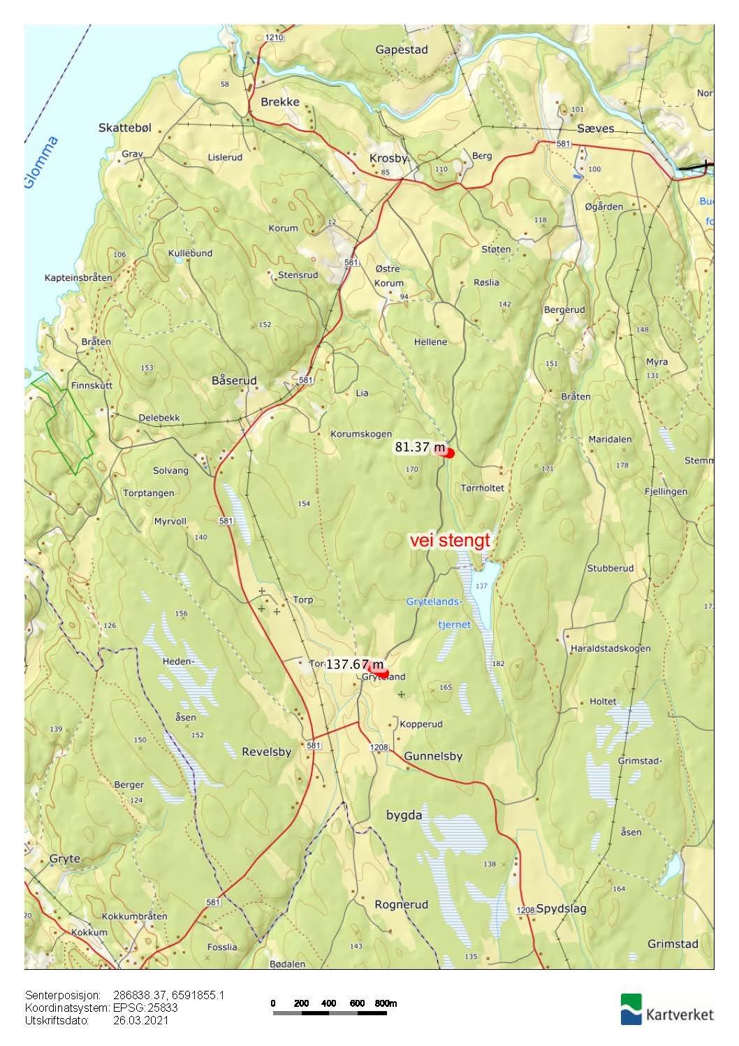 Kart viser Grytlandsveien som er stengt - info 250321 - Rakkestad kommune