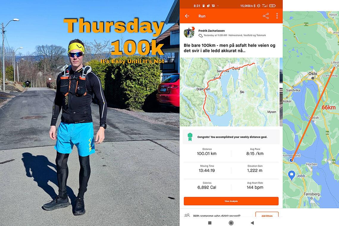 Fredrik Zachariassen gjorde en solid prestasjon i Home Away Ultra – men 100 km løpt ble kun 66 km tellende. (Foto fra Strava)