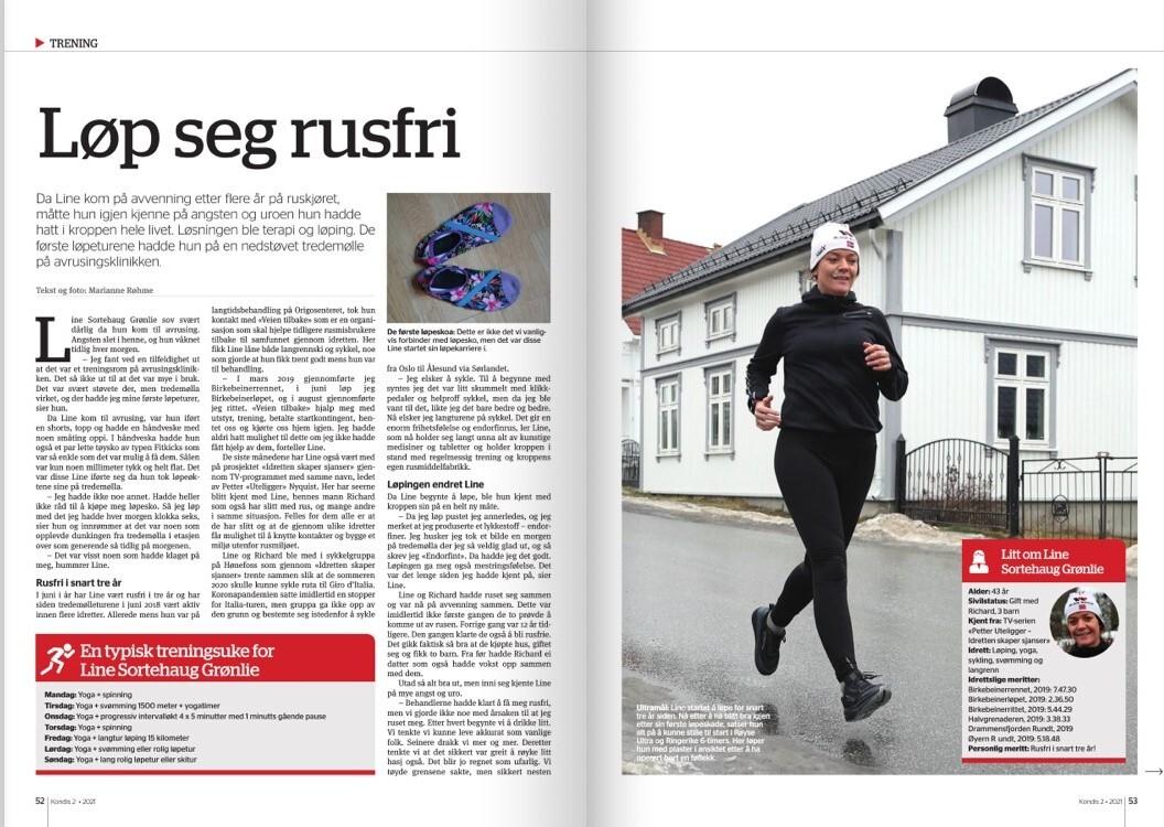 Faksimile av intervju med LIne Grønlie i Kondis.