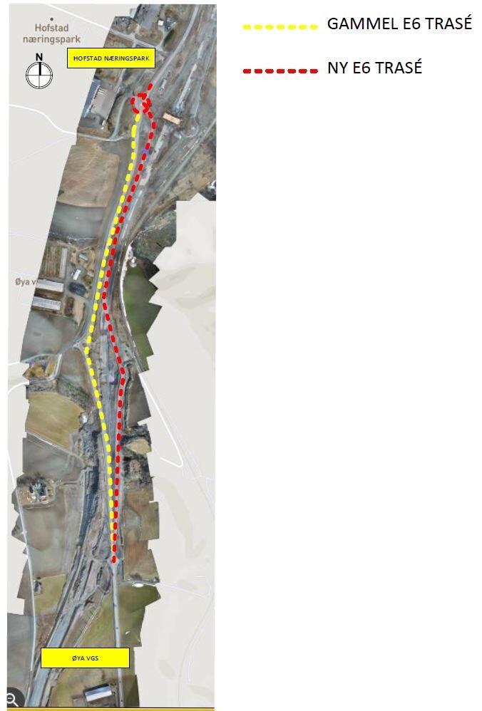 Bilde som viser kartet med E6-strekningen dette gjelder