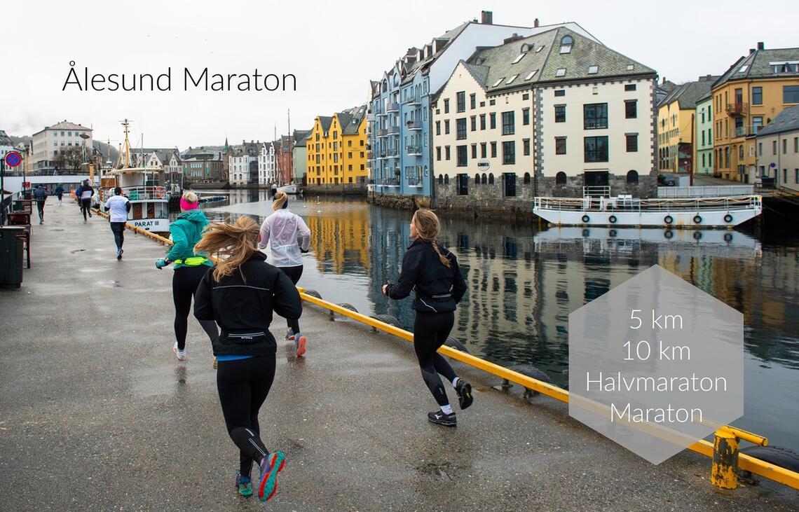 Traséen i Ålesund Maraton går bl.a. langs sjøkanten med utsyn til Brosundet. Foto: Arrangør
