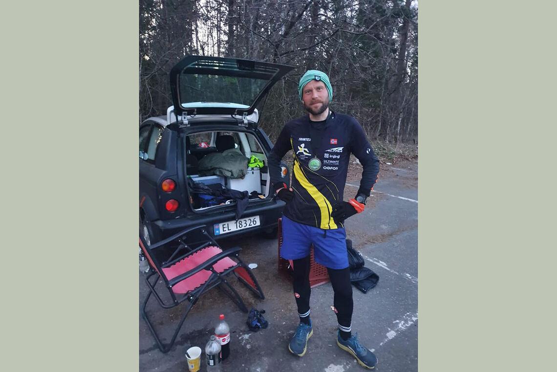 Jon Asphjell fra Romerike Ultraløperklubb ble Last man standing. 35 runder ble fasiten i den 6,7 km lange løypen. (Foto fra Facebook).