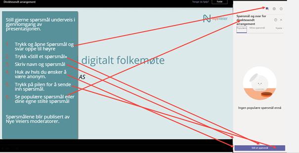Bilde som viser hvordan du kan stille spørsmål i chatten underveis i det digitale møtet