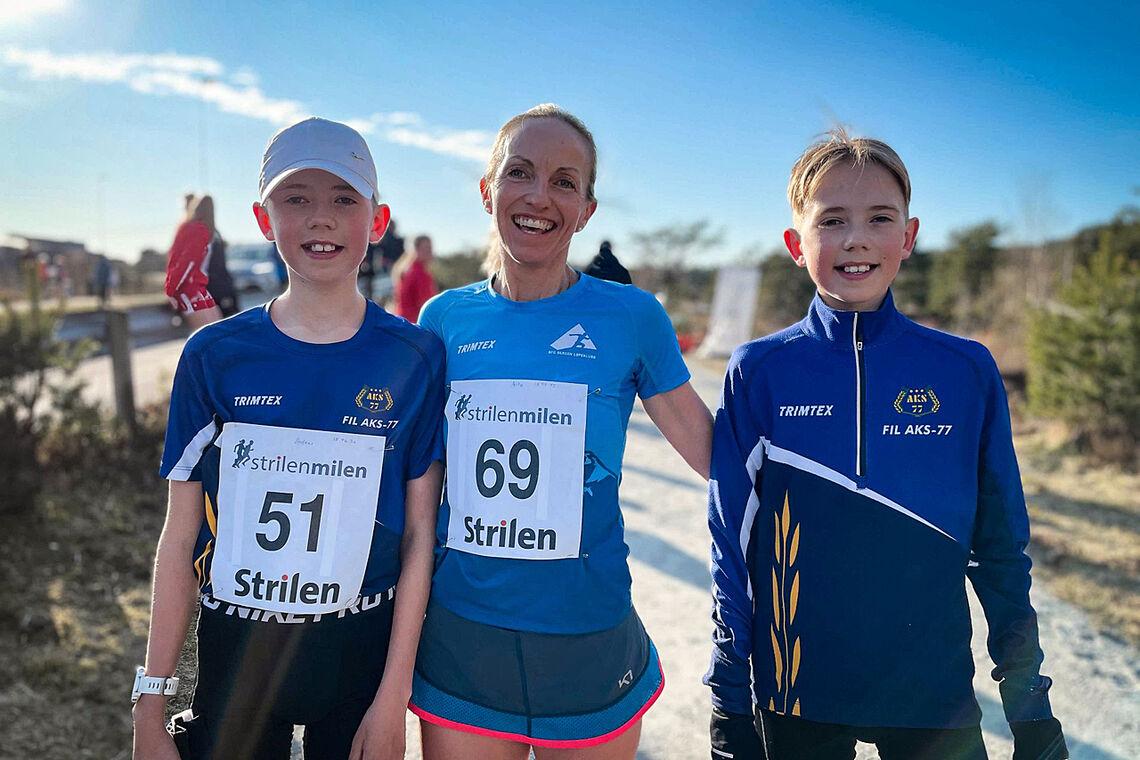 Anita Iversen Lilleskare var aller raskest rundt Brekkeløypa i Knarvik. Sønnene Andreas og Jonas gjorde det også svært bra. (Alle foto: Anders Totland/Bygdanytt)