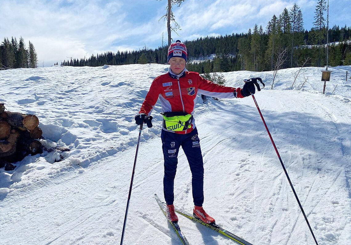 Filip Osnes-Ringen kunne puste ut etter å ha lagt bak seg 300 km på ski i den nordlige delen av Nordmarka. (Foto: Øyvind Osnes-Ringen)