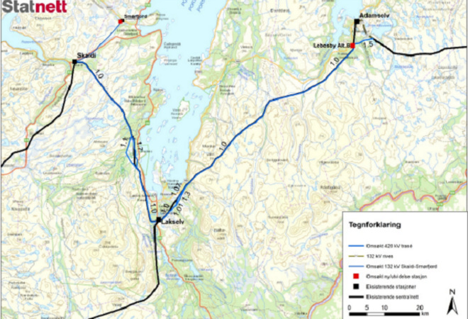 Statnett kart 420 kv linja Skaidi-Lebesby