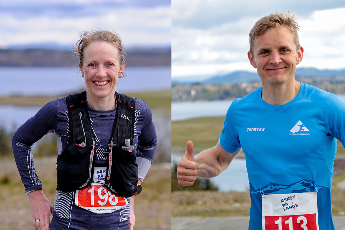 Sara-Rebekka Færø Linde og Anders Kjærevik vant årets Askøy på langs. (Alle foto: Arne Dag Myking)