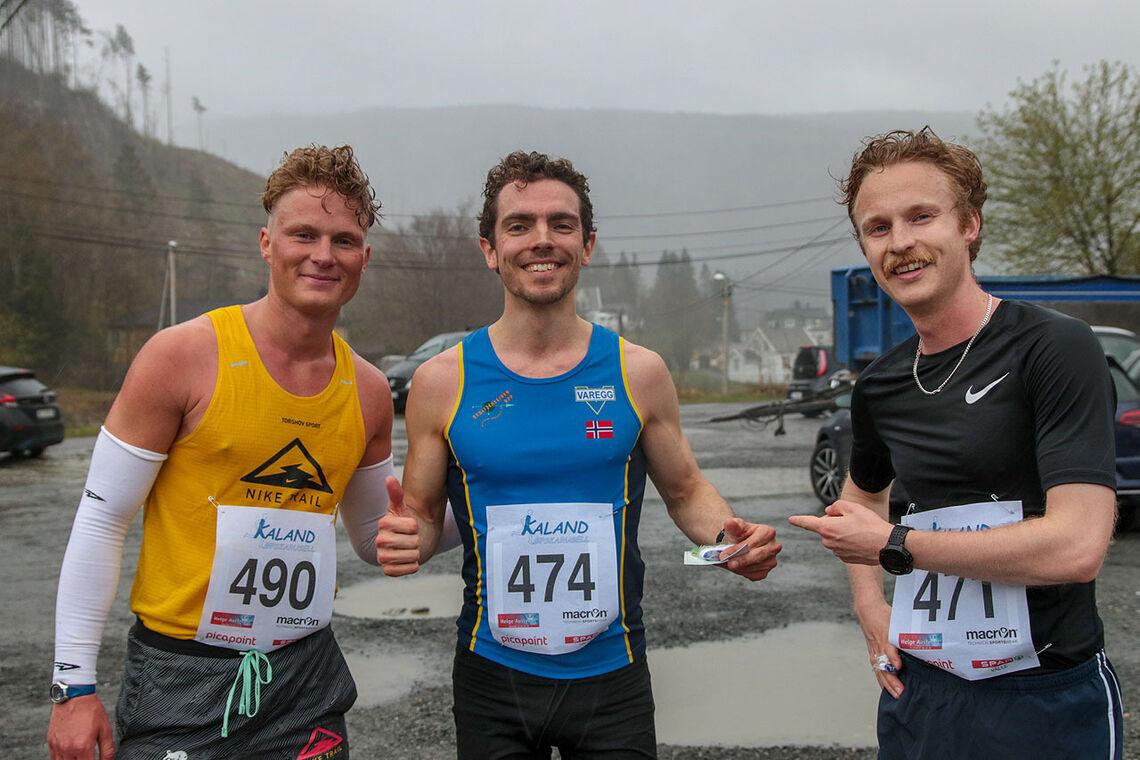 De tre raskeste menn på 10 kilometer: Sondre Øvre-Helland, Tage Morken Augustson og Jonas Gjesdal. (Alle foto: Arne Dag Myking)