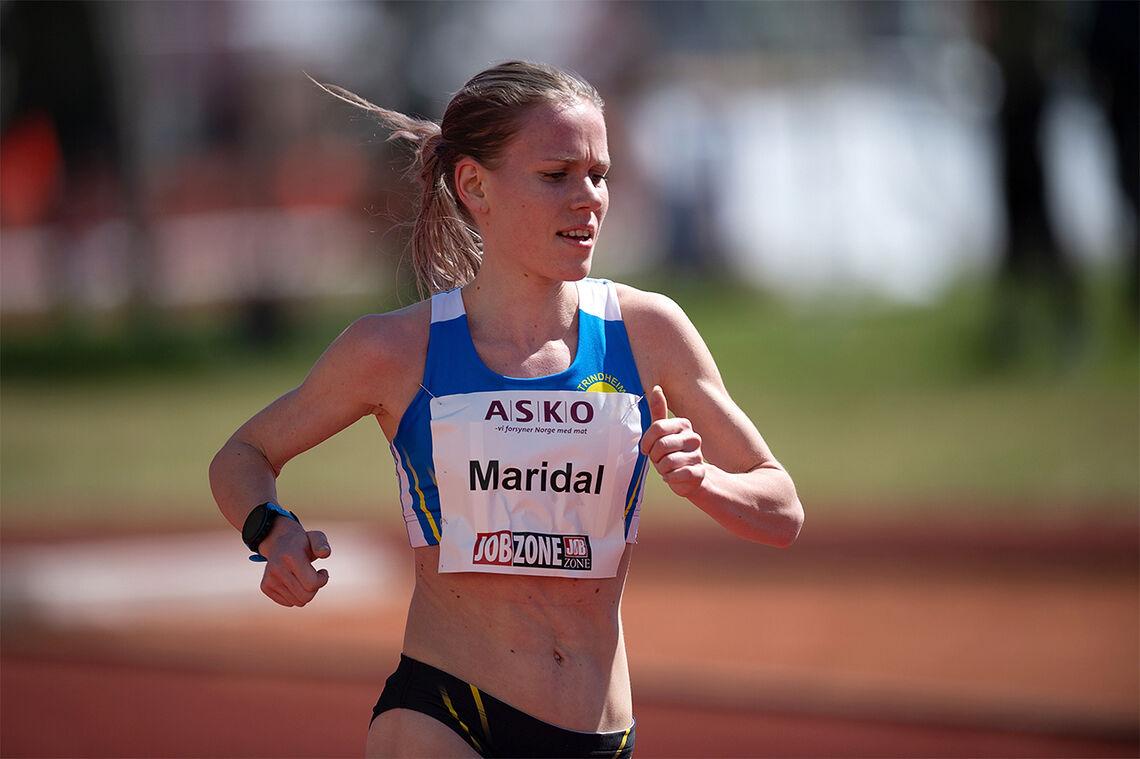 Hanne Mjøen Maridal har opna sesongen med å sette pers på både 3000 m og 10 000 m. Her ser vi henne i aksjon på Bislett stadion sist helg. (Foto: Samuel Hafsahl)