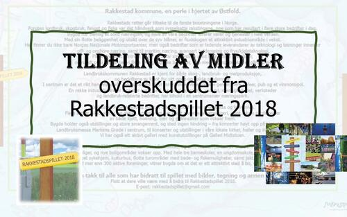 Utdeling av overskudd Rakkestadspillet 2018