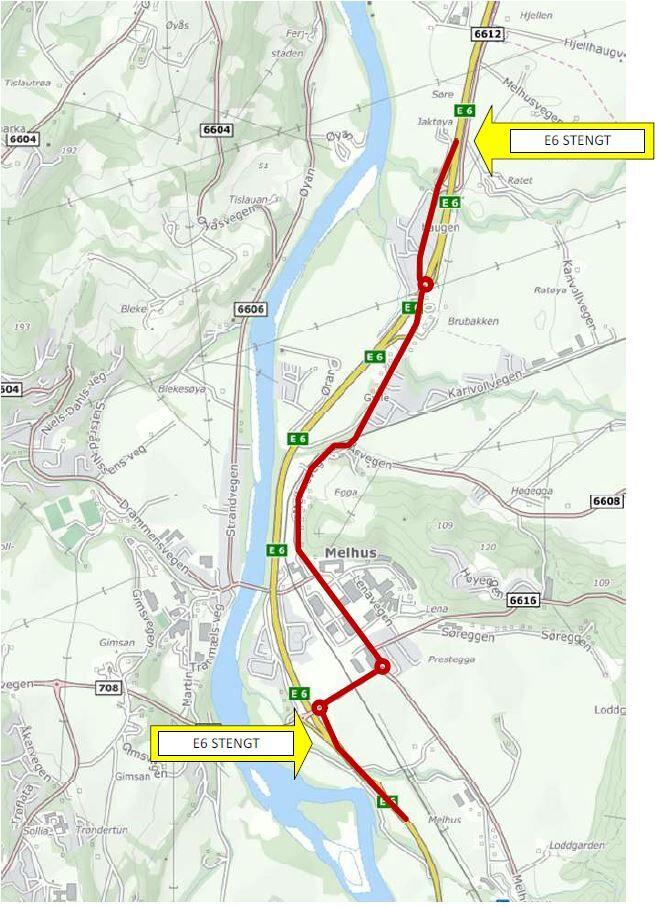 Kart som viser E6-strekningen mellom Brubakken og Melhus som stenges tirsdag 25. mai kl. 22
