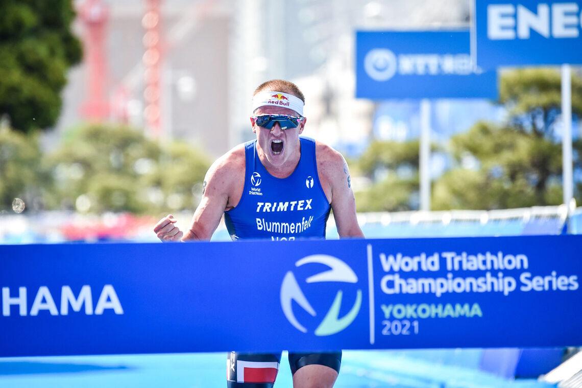 Kristian Blummenfelt sin seier i Yokohama. (Foto: Tommy Zaferes/Norges Triatlonforbund)