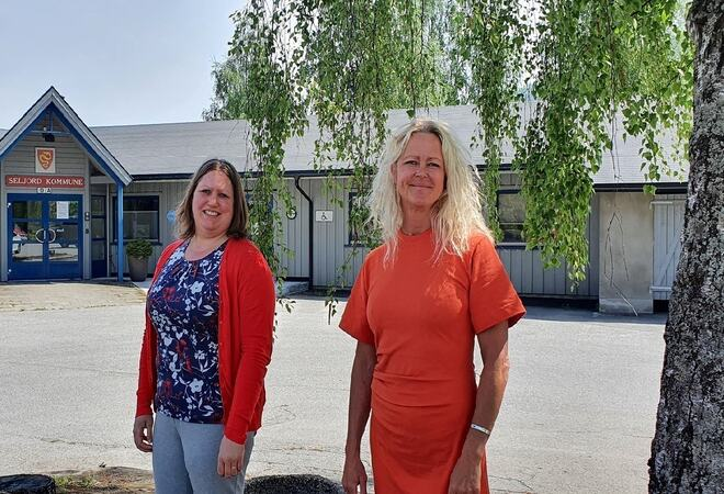 Rådmann Rikke Raknes og ordførar Beate Marie D.Eide