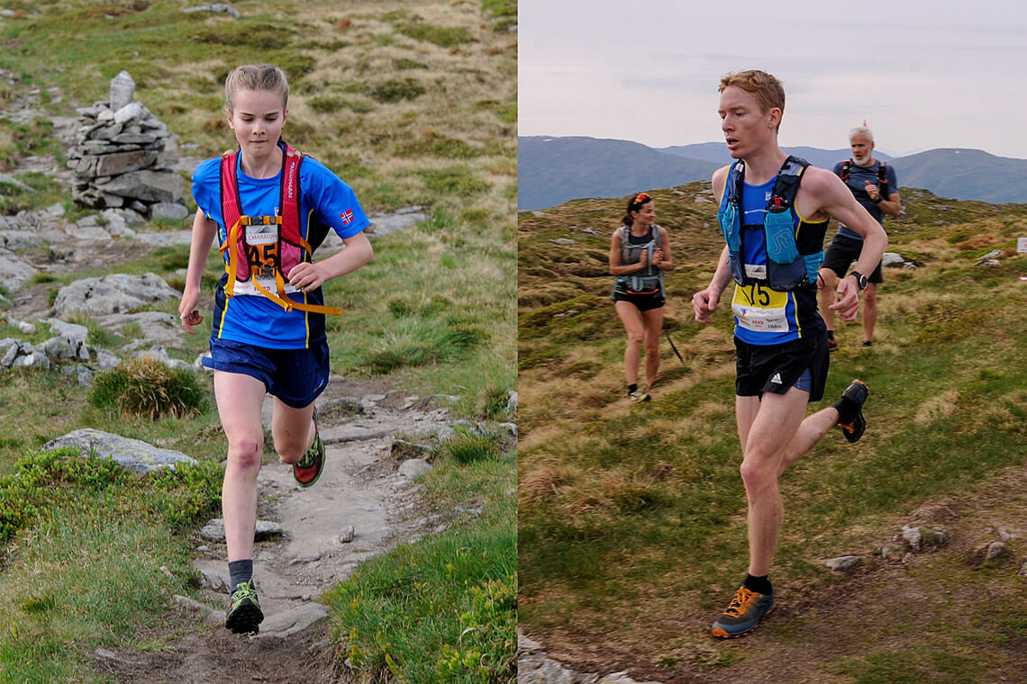 Selma Eldevik som ikke fyller 16 år før til høsten, tok en overraskende, men klar seier i Bergen Fjellmaraton. Halfdan-Emil Færø var derimot en av favorittene. (Foto: Arne Dag Myking)
