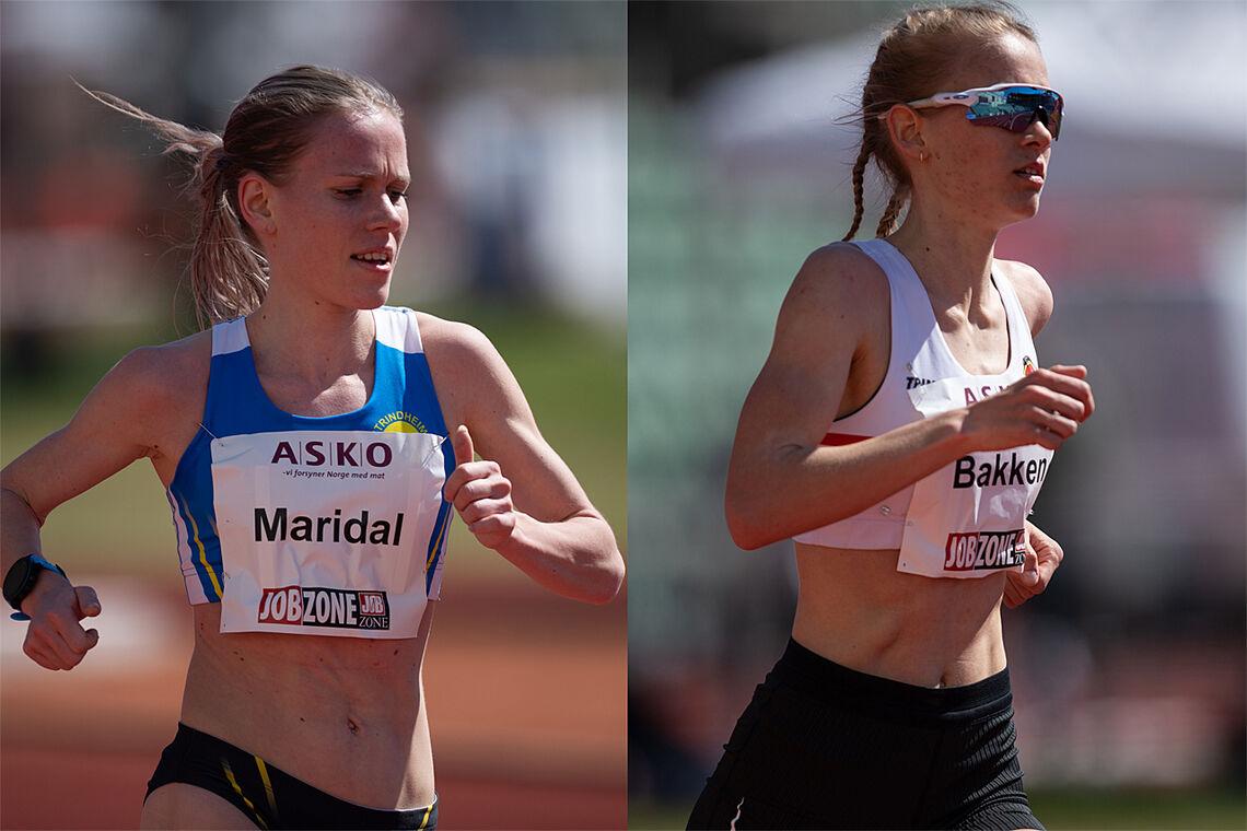 Hanne Mjøen Maridal og Ine Bakken, her fra Tjalve ASKO Holmenkollstafetten 10000m på Bislett den 8. mai i år. (Foto: Samuel Hafsahl)